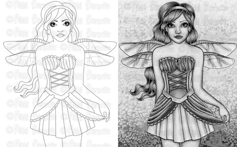 Learn how grayscale coloring differs from traditional black and white line art coloring pages!